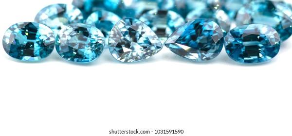 Beautiful blue zircon gemstone on white background