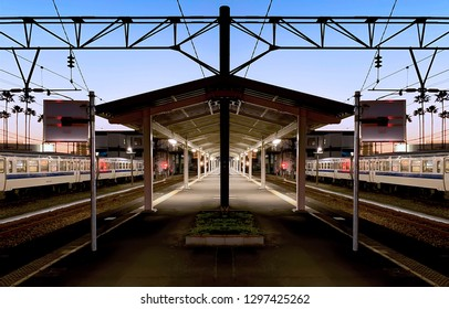 Beautiful bluehour time on a pentagon platform of local train station in Miyazaki, Japan