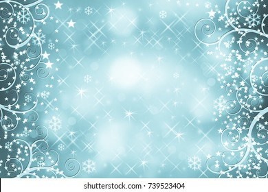 Beautiful blurred bokeh lights for Christmas and New Year celebration. Magical abstract glittery backgroun with falling sparkling stars and snowflakes.