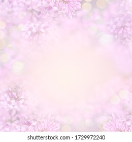 Beautiful blurred close-up pink mockup with flowering lilac tree flowers and golden bokeh for invitation or greeting card. Creative floral design frame. Copy space for text. Square photo.