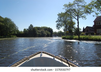 Beautiful boat trip through woerden the Dutch landscape