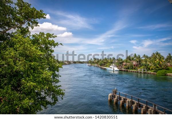 Beautiful Boca Raton Intracoastal Waterway Stock Photo (Edit