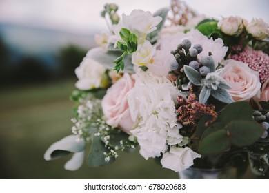 Beautiful bohemian wedding bouquet