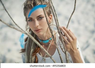 beautiful boho woman outdoors portrait