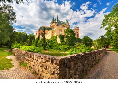 Beautiful Bojnice castle with lake reflection, UNESCO heritage (1103), Slovakia