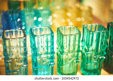 Beautiful bokeh in the line of vases