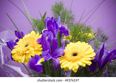 Beautiful boquet on purple ground