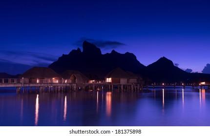 Beautiful Bora Bora and starry sky at night
