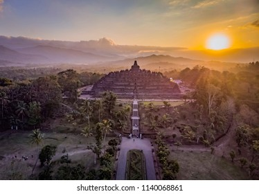 Beautiful Borobudur temple sunset in aerial photography view; July 2018