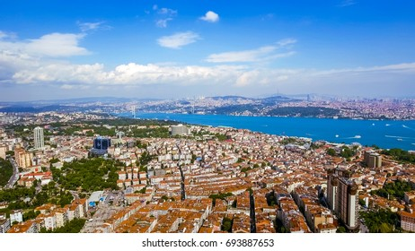 Beautiful Bosphorus View In Istanbul Turkey Aerial View