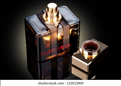 beautiful bottle of perfume on a dark background