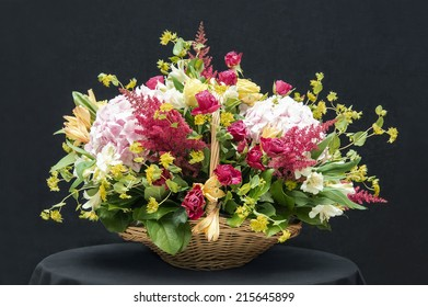 Beautiful bouquet in a basket