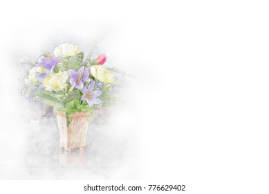 Beautiful bouquet of bright flowers in color vase in watercolor painting.