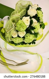 beautiful bouquet of bright white rose flowers