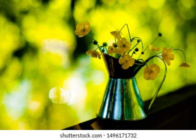 Beautiful bouquet of buttercups or daisy in small tin jar on sunny bokeh green and yellow background, Summer house countriyside concept. Selective focus.