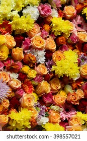 Beautiful bouquet of colorful daisies and roses.