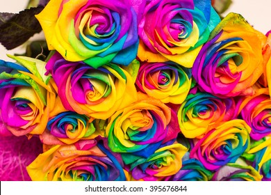 Beautiful bouquet of colorful roses. Design. Decoration. Gift.