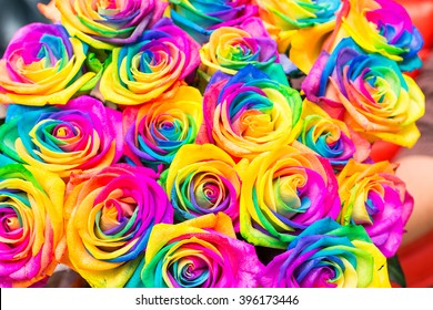 Beautiful bouquet of colorful roses. Design. Gift. Decoration.