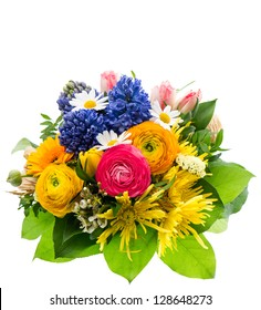 beautiful bouquet of colorful spring flowers isolated on white background. ranunculus, hyacinth, daisy, gerber