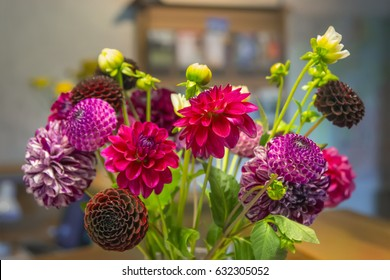 The beautiful bouquet of dahlias in a vase on the table.