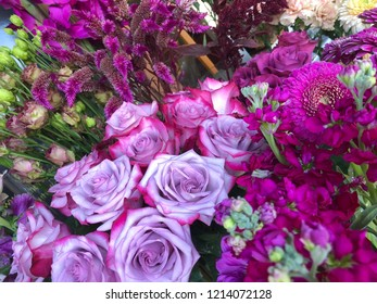 Beautiful bouquet of flowers at market