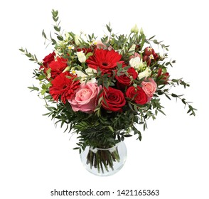 Beautiful bouquet of flowers red roses and gerberas hyacinths tulips Red bouquet Bouquet of red roses Big bouquet of roses and tulips Roses and gerberas front view isolated on white background