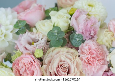 Beautiful bouquet of flowers in soft pastel colors