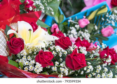 Beautiful bouquet made of roses and other flowers in various colors