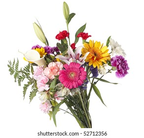 Beautiful bouquet of mixed cut flowers on white background