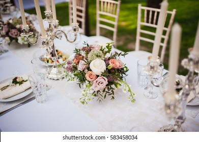beautiful bouquet on the table with candle