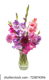 Beautiful  bouquet pink fashionable gladiolus and dahlia flower in a vase isolated on white background. Wedding bouquet of the bride