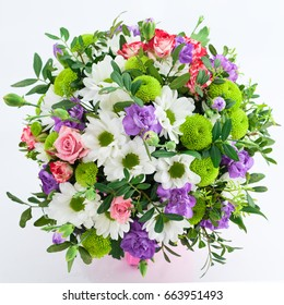 beautiful bouquet of pink, purple and white flowers, flat lay mock up with copy space for text