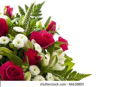 Beautiful bouquet with pink roses for background use