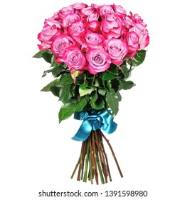 beautiful bouquet of pink roses on a white background 2