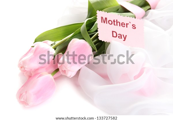 Beautiful bouquet of pink tulips for Mother's Day, isolated on white