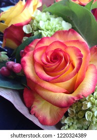 Beautiful bouquet of pink and yellow roses.