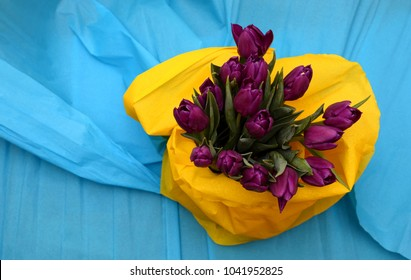 Beautiful bouquet of purple tulips in a vase on a blue background