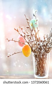beautiful bouquet of pussy willow and colorful Easter eggs. Easter holiday background, symbol Christian holiday palm Sunday. spring Orthodox festive. Easter palm sunday holiday.