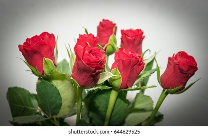 Beautiful bouquet of red roses full of love