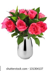beautiful bouquet of red roses in vase