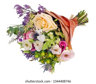 A beautiful bouquet of roses as a gift for a woman on her sixtieth anniversary. Isolated on white studio shot