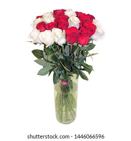 Beautiful bouquet of roses on a white background