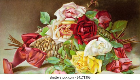 Beautiful bouquet of roses, vintage illustration