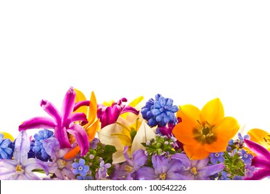 beautiful bouquet of spring flowers on a white background