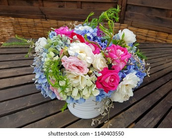 Beautiful bouquet with summer flowers