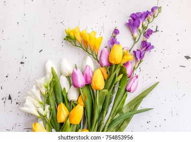 Beautiful bouquet of tulip flowers