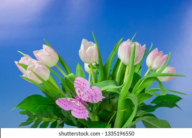 Beautiful bouquet with tulips, blue sky background