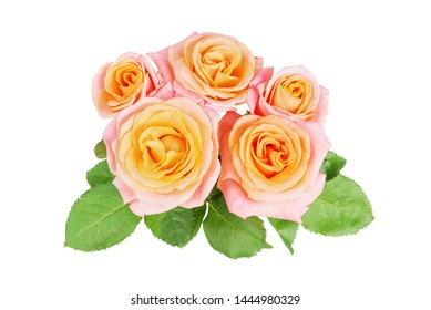 Beautiful bouquet of unique yellow-pink rose flowers, isolated on white background