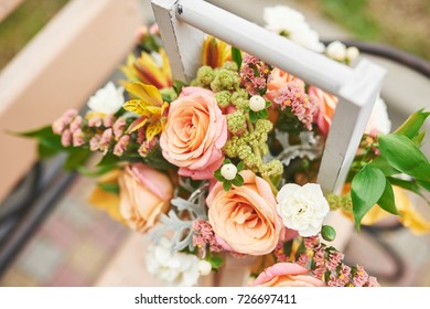 Beautiful bouquet in a vase Flowers decoration in wedding ceremony.