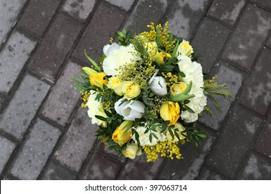 Beautiful bouquet from yellow flowers